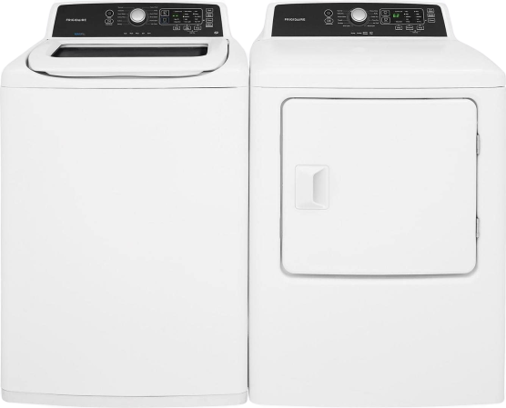 White_Top_Load_Laundry_Pair_with_FFTW4120SW_27_Washer_and_FFRE4120SW_27_Electric_Dryer